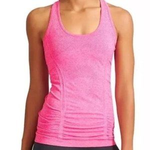 Athleta Fastest Track Heathered Pink Ruched Tank
